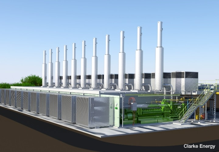 A coneptual rendering of a 3D autocad model of a multiengine power plant deployed in the UK's capacity market. Image shows engine enclosures, exhaust stacks and GE's Jenbacher gas engines