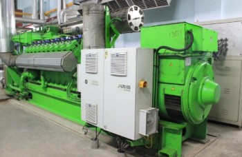 A photo of Kanoida technoplast's gas engine generator powering the factory's trigeneration plant