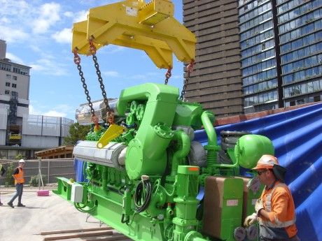 Sydney Central Park gas engine being positioned