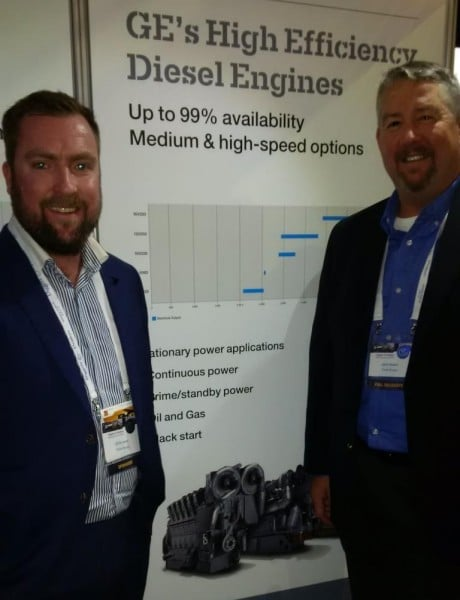 Diesel Engine Speccialist Chris Leane (r), Clarke Energy and from John Hebert (l), GE