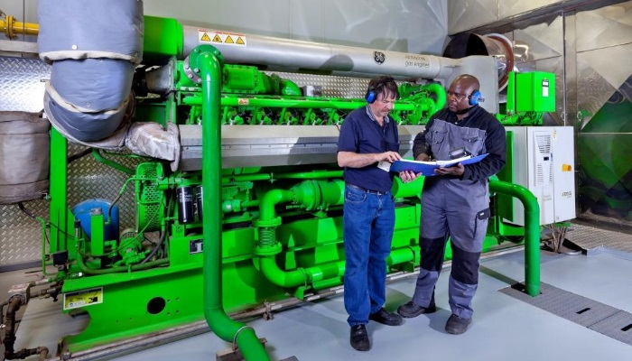 A photograph of one of GE's J320 gas engines at MTN's facility in South Africa