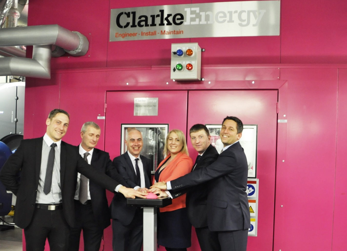 Team members from Clarke Energy, Skanska, Barts NHS Trust, GE and SDCL Switch on Trigeneration Engine