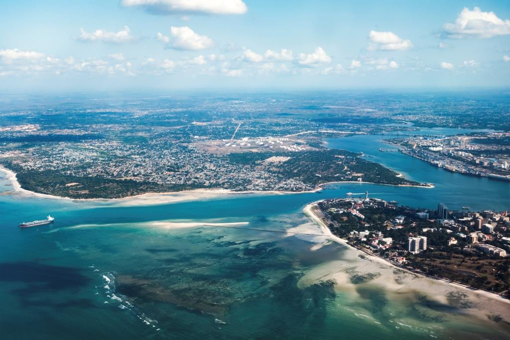 An aerial view of Dar es Salaam