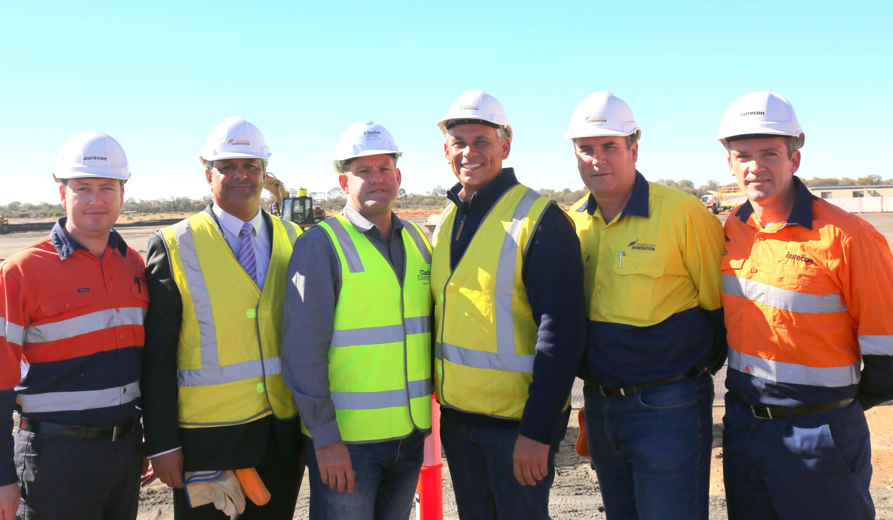 Photograph taken at the commencement of construction [l-r] Aurecon Regional Director – Paul Gleeson, Territory Generation Chairperson - David De Silva, Clarke Energy Main Board Director - Greg Columbus, Northern Territory Chief Minister - Adam Giles, Territory Generation Chief Executive Officer - Tim Duignan, Aurecon  Associate, Energy Services – Paul Godden