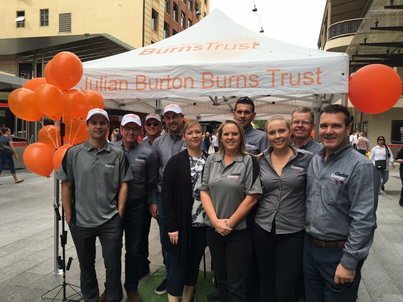 A photograph of the Clarke Energy charity volunteers at the Rundon Mall, Adelaide, South Australia