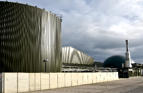 A photograph of the St Asaph anaerobic digestion facility showing digestion tanks, gas storage and biogas CHP engine