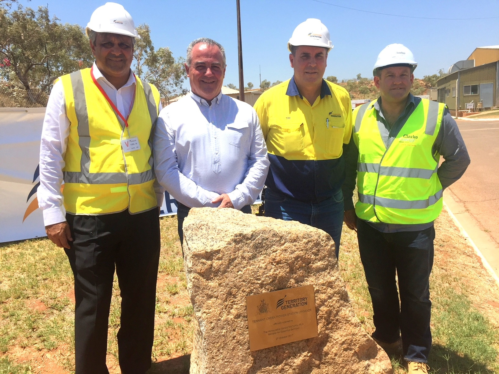 A photograph of (l-r) David de Silva, Chairman, Territory Generation Board, Gerry McCarthy, Minister for Essential Services, Tim Duignan, Chief Executive Officer, Territory Generation, Greg Columbus, Managing Director of Clarke Energy in Australia.