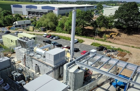 A photograph of the Plastic Omnium, Base Power, combined cooling heat and power plant (CCHP) supplied by Clarke Energy