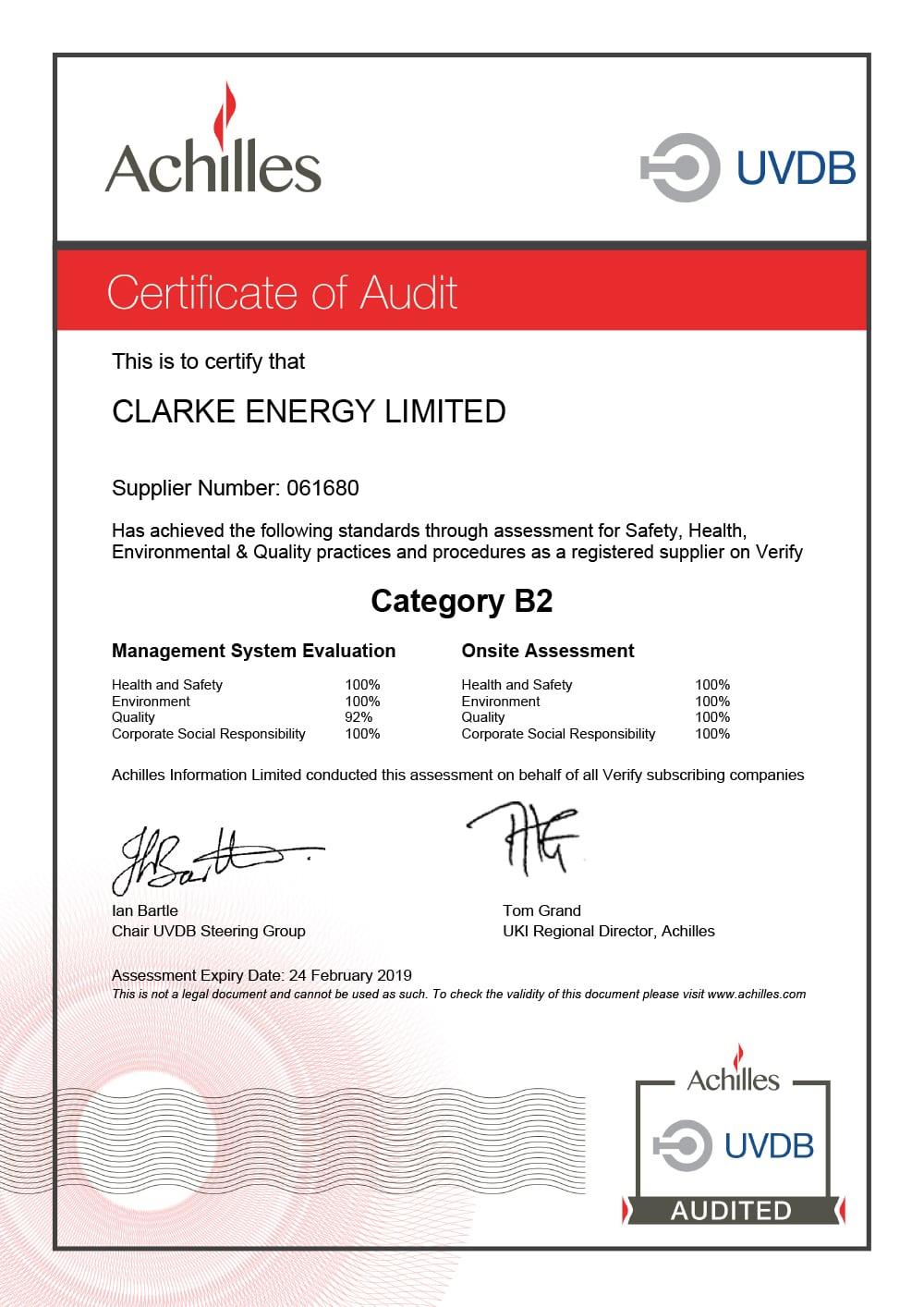 Achilles Audit Certificate