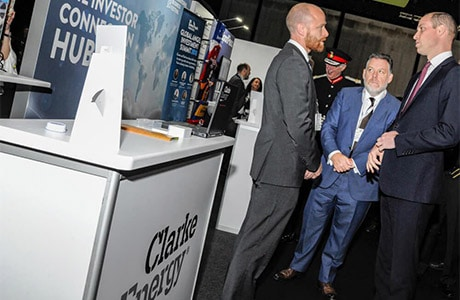 En Anglais: Prince William visits Clarke Energy stand at the International Business Festival 2018