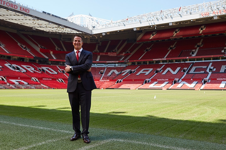 David Kohler, President and CEO of Kohler Co. at iconic Old Trafford Stadium – Kohler Co. Unveiled as Principal Partner of Manchester United – Kohler is the first shirt sleeve partner for both Manchester United men's and women's teams.
