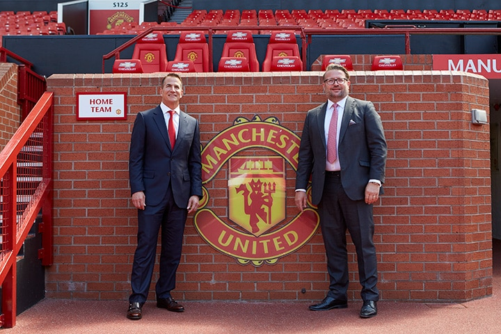 David Kohler, President and CEO of Kohler Co. and Richard Arnold, Group Managing Director of Manchester United announce Kohler Co. as Principal Partner of Manchester United