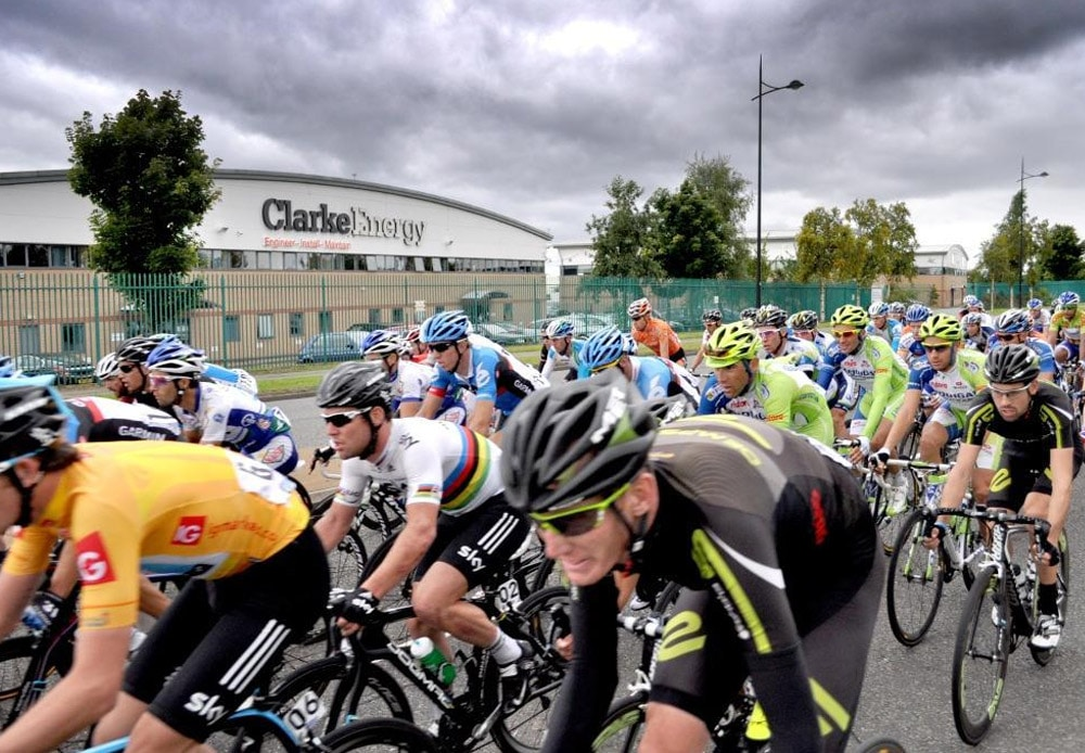 The Tour of Britain passes Clarke Energy headquarters in Knowsley
