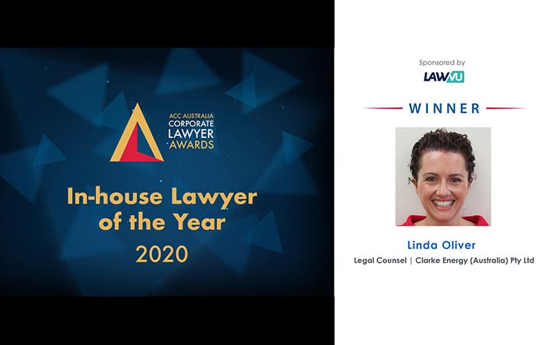 Στα αγγλικά: Clarke Energy's Legal Counsel, Linda Oliver, Wins In-house Lawyer of the Year 2020