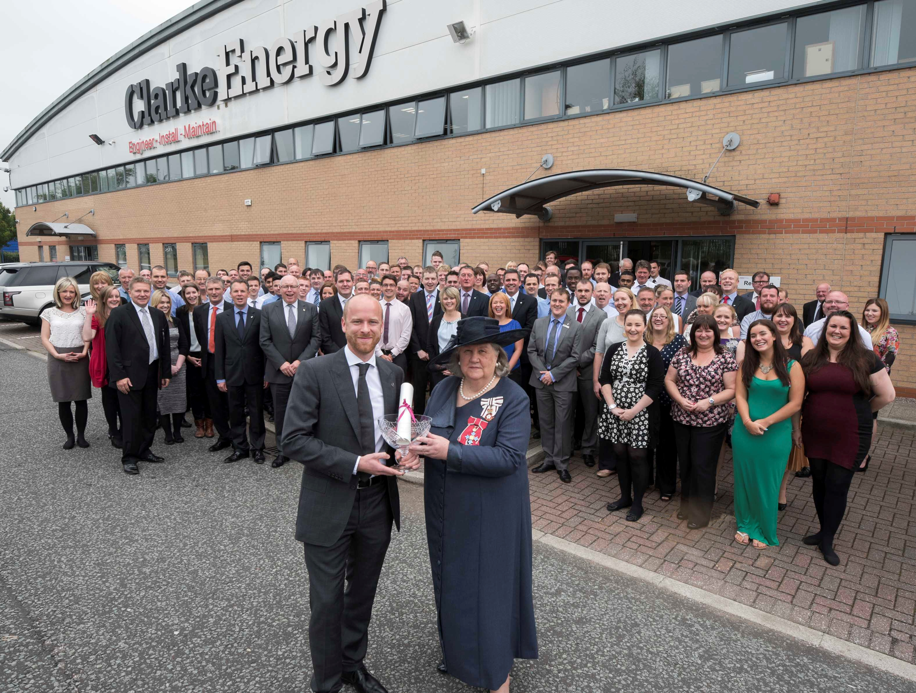Clarke Energy Kirkby receive the Queens Award for Enterprise International Trade.