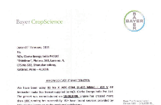 Letter of appreciation from Bayer CropScience