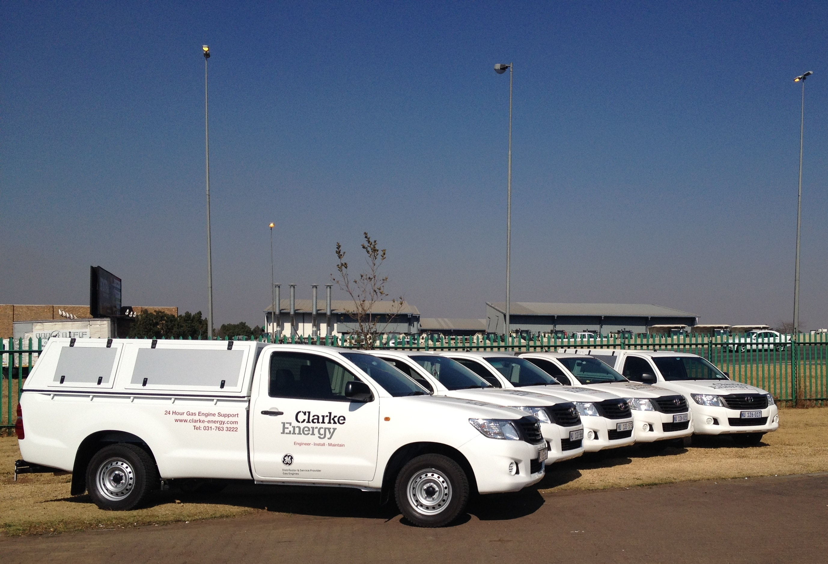 A line up of Clarke Energy's South African service vehicles.