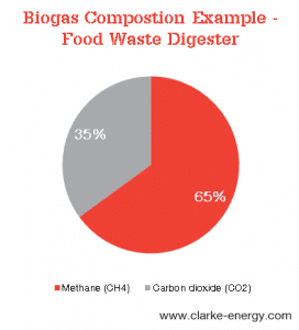 A pie chart showing the typical composition of biogas originating from food wastes