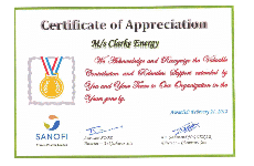 Certificate of Appreciation from Sanofi, India