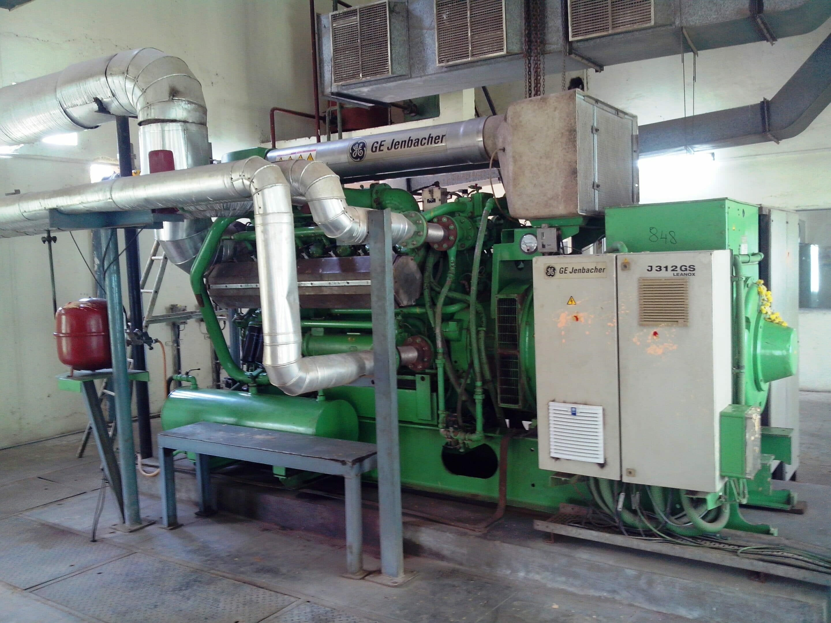 A view of the Jenbacher CHP engine at Koyambedu Sewage Treatment Plant